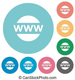 Flat domain icons - Flat domain icon set on round color...