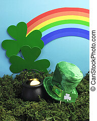 St Patricks Day still life with leprechaun hat, pot of gold,...