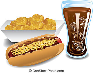 Chili dog dinner - Illustration of a chili dog, cola and...
