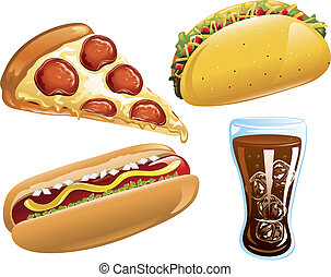 Fast Food icons - Illustration of pizza,cola,hot dog and a...