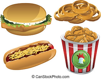 Fast Food icons - Illustration of a fish sandwich, onion...