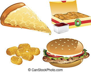 Fast Food icons - Illustration of a cheese pizza, tater...