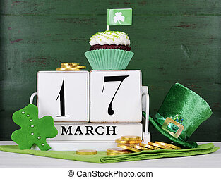 Happy St Patricks Day save the date white vintage wood...
