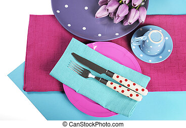 Modern bright Sixties mod style color blocking design for table place setting in aqua blue, pink and purple.
