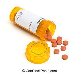 Spilled Pill Bottle Isolated - Spilled pill bottle isolated...