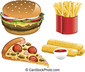 Fast Food icons - Illustration of a supreme pizza,...