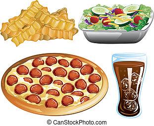 Fast Food icons - Illustration of french fries, pepperoni...