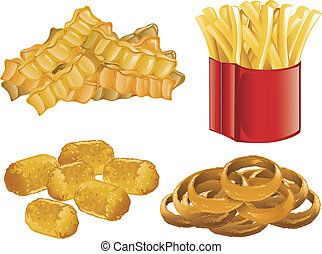 Fast Food icons - Illustration of french fries, onion rings,...