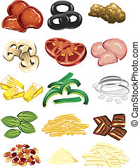 Pizza toppings - Illustration of different pizza toppings...