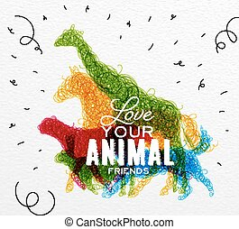 Poster animals tangled line - Hand drawing pen tangle wild...