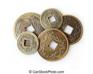 Chinese feng shui coins - Close-up of chinese feng shui...