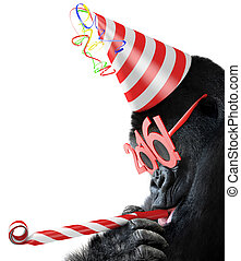 Gorilla with New Year 2016 glasses - Silly gorilla with cone...