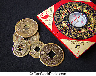 Feng shui compass and chinese coins. - Feng shui compass...