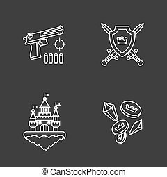 four flat game icons - This is a vector illustration of four...