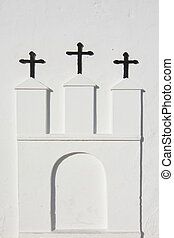 White church Ibiza - Three crosses on white church in Ibiza,...