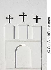 White church Ibiza - Three crosses on white church in Ibiza,...