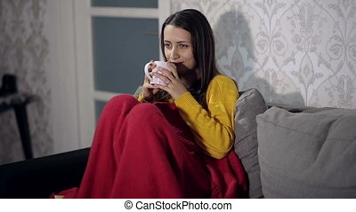 Woman Watching TV and Drinking Tea - woman watching TV and...