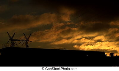 Industrial Evening Landscape - Activity in the industrial...