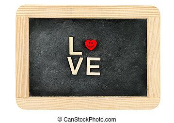 palavra, Amor, criado, madeira, vindima, Quadro, isolado,...