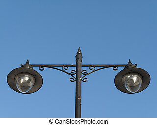 Street Light - Street light isolated against a clear blue...