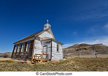 Badlands church - Old abandoned church in the badlands of...