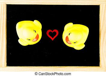 Pojęcie, miłość, na, odizolowany, Żółty, kiwa, ścierka, tło,...