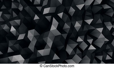 black polygonal surface 3D render seamless loop - black...
