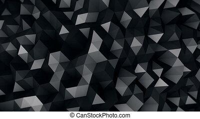 black polygonal surface 3D render seamless loop - black...