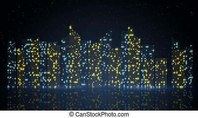 night city lights loopable animation
