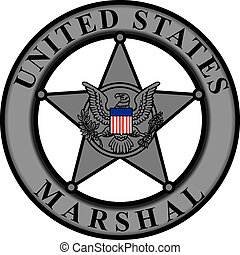 Classic badge United States Marshal. Vector illustration.