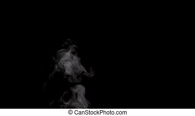 Slow Jet of Steam from a Cup - White smoke on black...