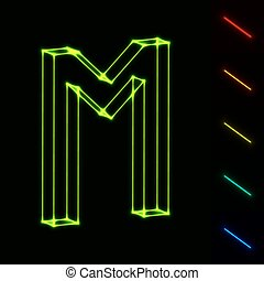 EPS10  glowing wireframe letter M - easy to change color