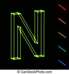 EPS10  glowing wireframe letter N - easy to change color