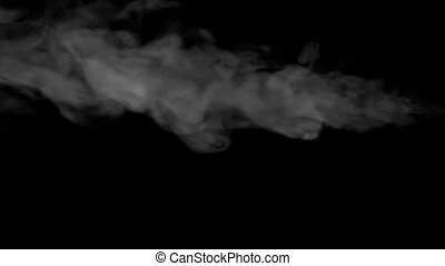 The Jet of Steam - Swirling flow of steam or smoke on black...