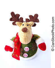 Plush Christmas reindeer on white background