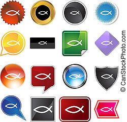 Jesus Fish Icon - Jesus fish web button icon isolated on a...