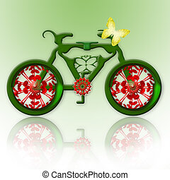 Ecological Transport - Romantic green bicycle and yellow...