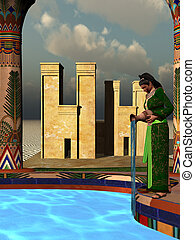 ESSENCE - A beautiful Egyptian woman adds perfumed oils to...