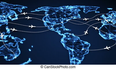 airplanes on world map panning