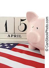 April 15 calendar reminder for USA Tax Day. - April 15...