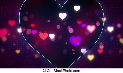 glowing heart shapes loopable love background - glowing...
