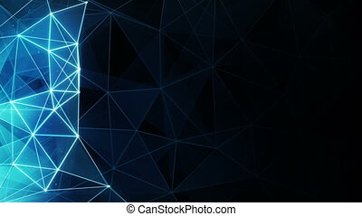 glowing blue polygon background seamless loop