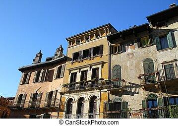 Verona, home on Erbe Square (Piazza Erbe). Italy