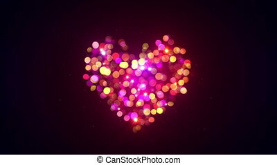colorful bokeh lights heart shape loopable animation -...