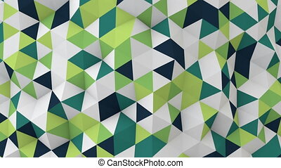 white and green 3D render polygonal surface moving seamless...