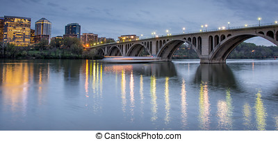 Dusk over Key Bridge and Rosslyn - The Francis Scott Key...