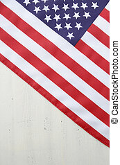 Happy Fourth of July USA Flag on White Wood Table - USA...
