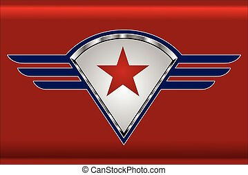 red star on the winged shield. star and wings. star, shield...