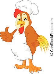 cute chef rooster cartoon thumb up