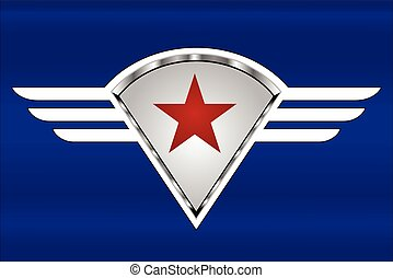 Star on the white winged shield.eps - red star on the winged...